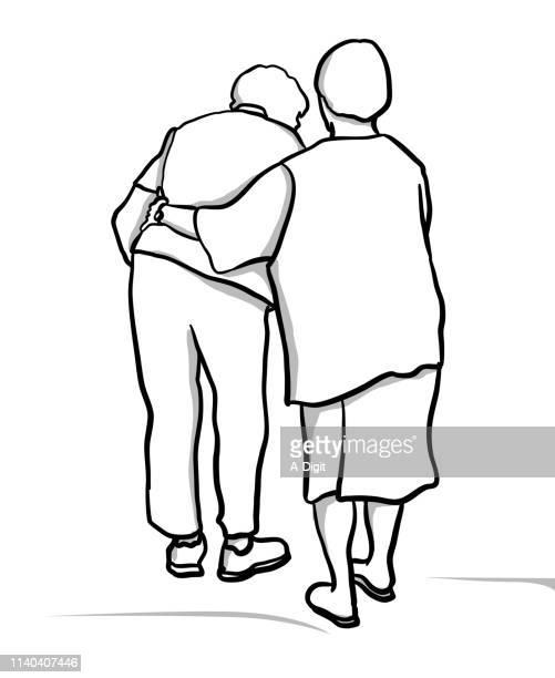 best friend forever elderly - senior citizen clipart stock illustrations