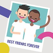 Best friends photo frame. Two young friends hugging each other. Flat editable vector illustration, clip art