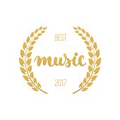 Best music awards in golden color with laurel wreath and 2017 text