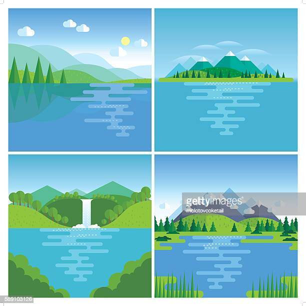 best nature location - lake stock illustrations