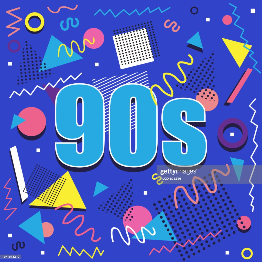 Best of 90s illistration with abstract retro design on blue background