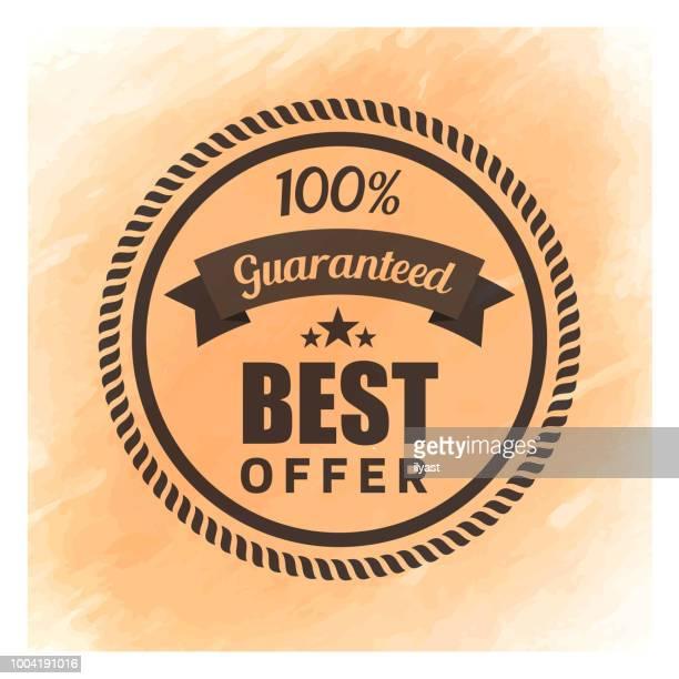 best offer badge watercolor background - medallion stock illustrations