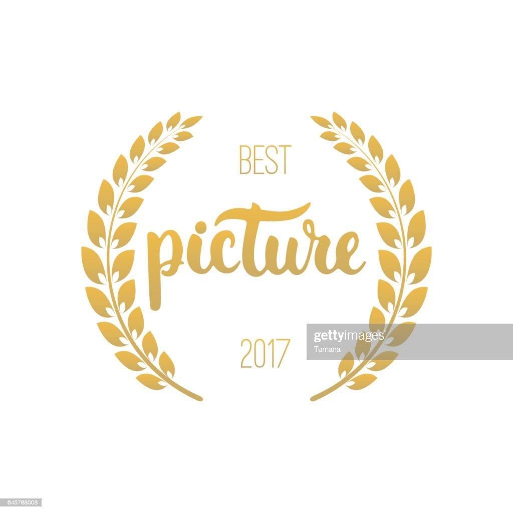 Best picture awards in golden color with laurel wreath and 2017 text