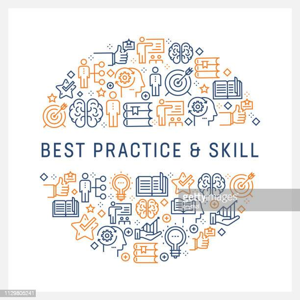 best practice and skill concept - colorful line icons, arranged in circle - practicing stock illustrations, clip art, cartoons, & icons
