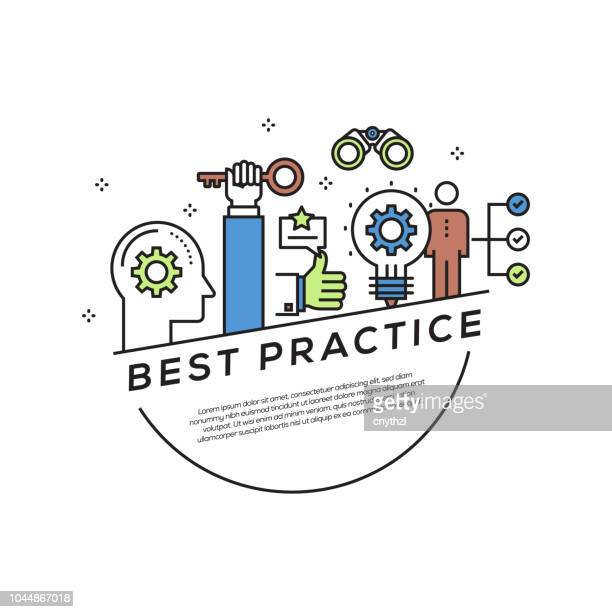best practice concept flat line icons - practicing stock illustrations, clip art, cartoons, & icons