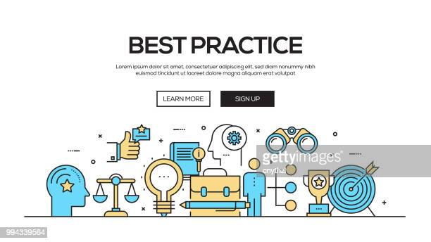 best practice flat line web banner design - practicing stock illustrations, clip art, cartoons, & icons