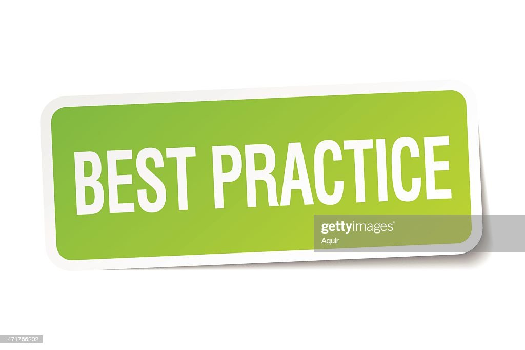 best practice green square sticker on white background