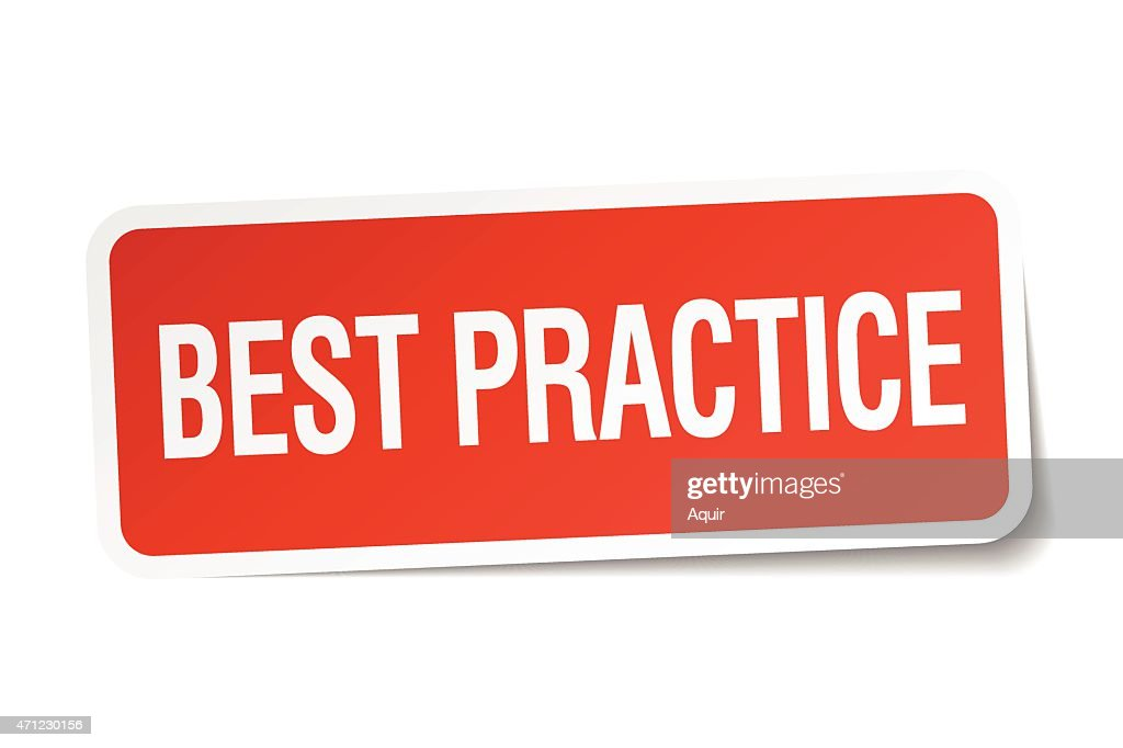 best practice red square sticker isolated on white