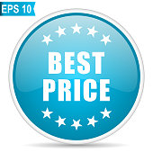 Best price blue glossy round vector icon in eps 10. Editable modern design internet button on white background.