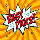 Best price - Comic book style word on a yellow background. Best price comic text speech bubble. Banner in pop art comic style. Color summer banner in pop art style Ideal for web. Decorative background with bomb explosive