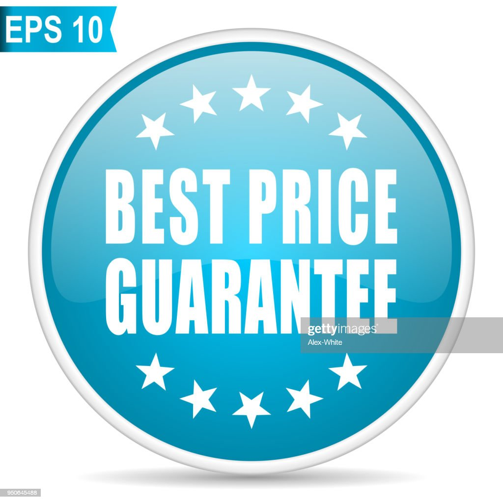 Best price guarantee blue glossy round vector icon in eps 10. Editable modern design internet button on white background.