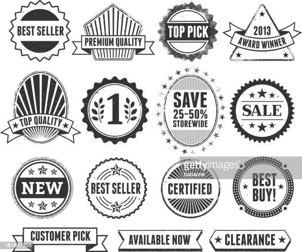best sale shopping black & white grunge badge set - great seal stock illustrations, clip art, cartoons, & icons