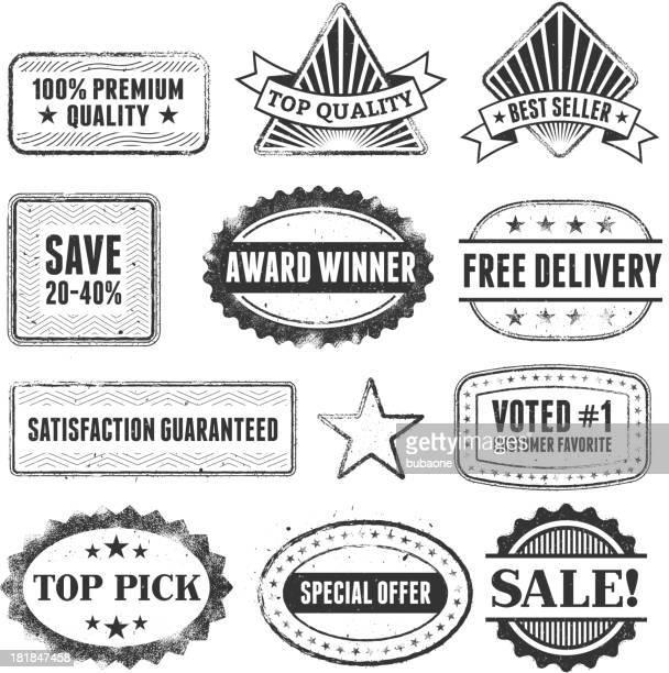 ilustrações, clipart, desenhos animados e ícones de melhor venda de compras branco grunge preto & escudo conjunto - great seal