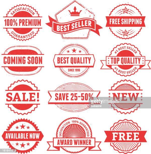 ilustrações, clipart, desenhos animados e ícones de melhor escudo do grunge conjunto de venda de compras - great seal