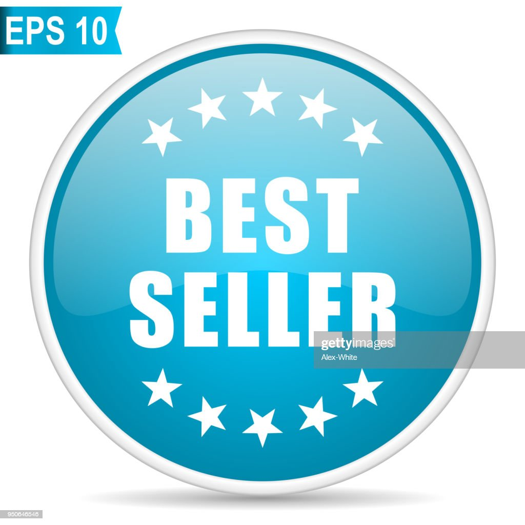 Best seller blue glossy round vector icon in eps 10. Editable modern design internet button on white background.