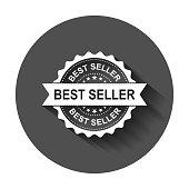 Best seller grunge rubber stamp. Vector illustration with long shadow. Business concept bestseller stamp pictogram.