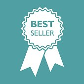 Best seller ribbon icon. Medal vector illustration in flat style on isolated background.