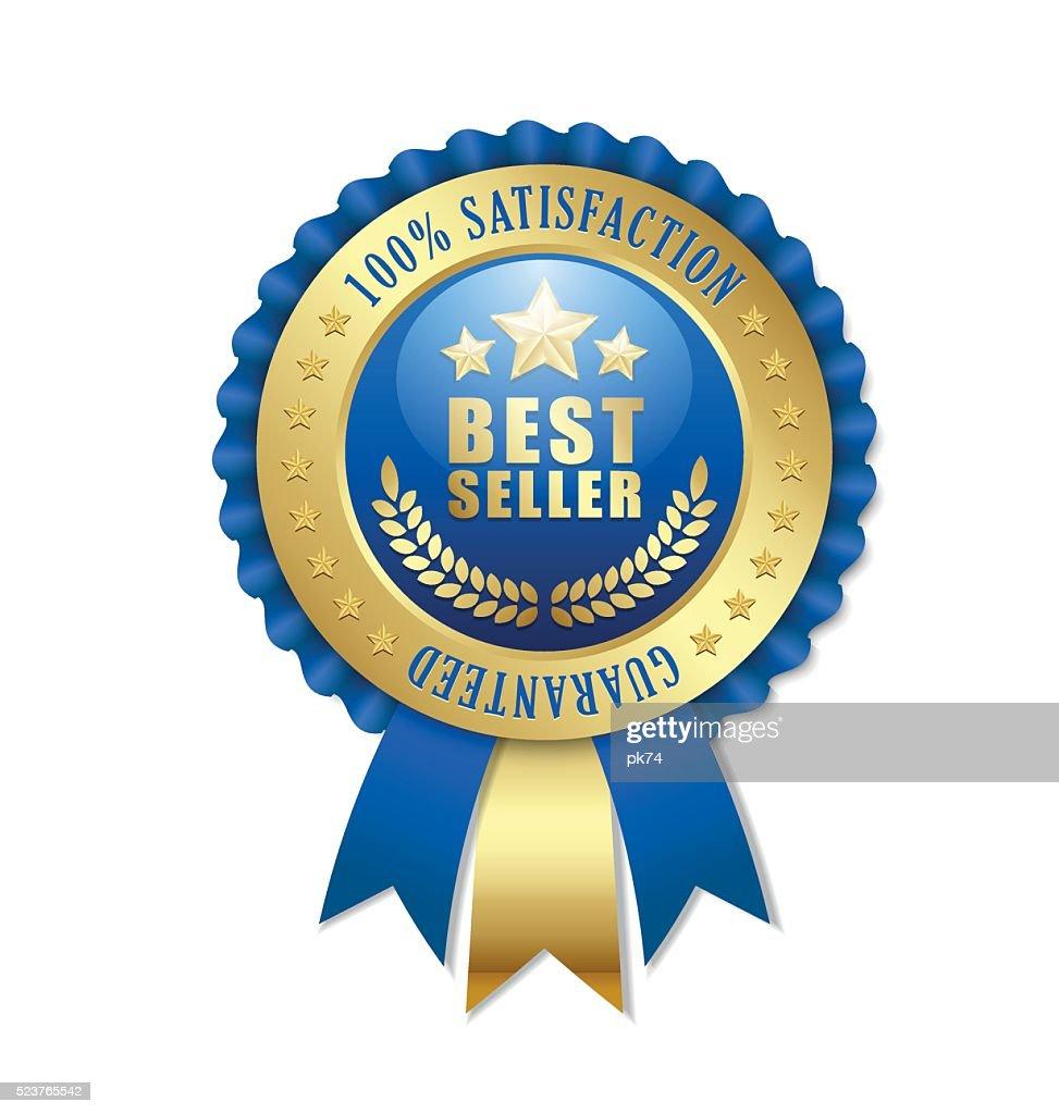 Best seller rosette on white background