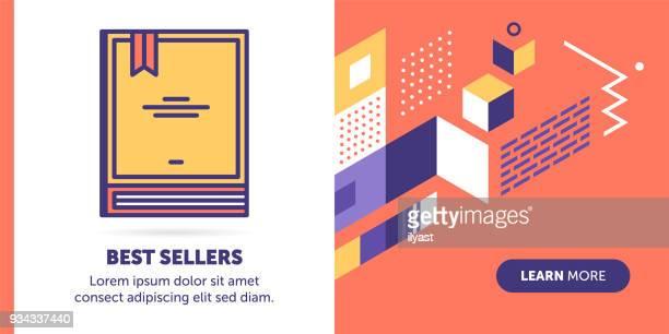ilustrações, clipart, desenhos animados e ícones de melhores vendedores banner - livraria