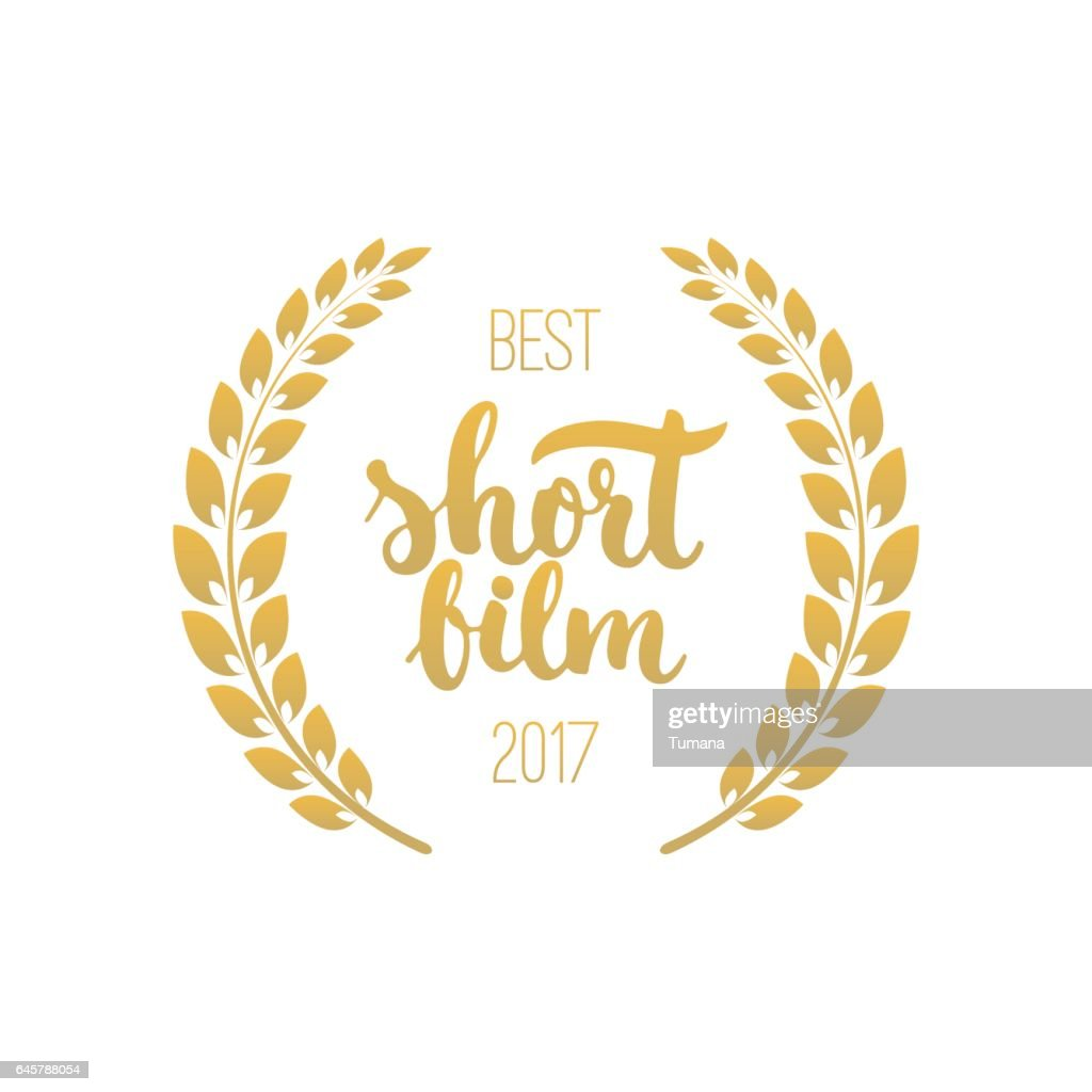 Best short film awards in golden color with laurel wreath and 2017 text
