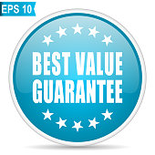 Best value guarantee blue glossy round vector icon in eps 10. Editable modern design internet button on white background.