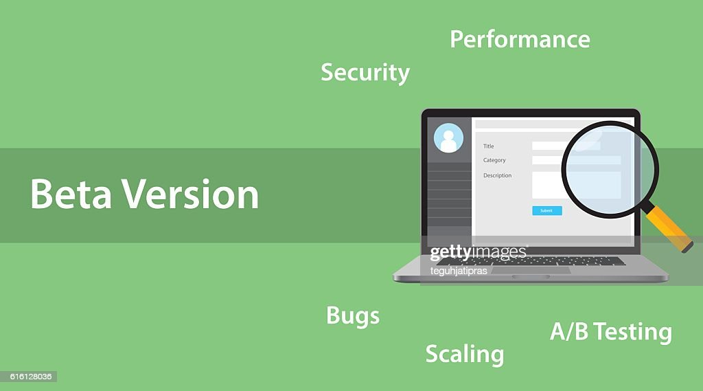 beta version software concept with laptop and magnifying glass error