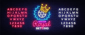 Betting Soccer neon sign. Football betting  in neon style, Royal concept, light banner, bright night betting sports advertisement, design element gambling, casino. Vector. Editing text neon sign