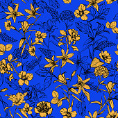 Beuatiful summer vivid yellow botanical flowers in the garden hand drawn by pencil seamless pattern vector for fashion, fabric,wallpaper and all prints