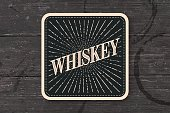 Beverage coaster for glass with inscription Whiskey