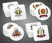 Beverage coaster with beer labels vector set