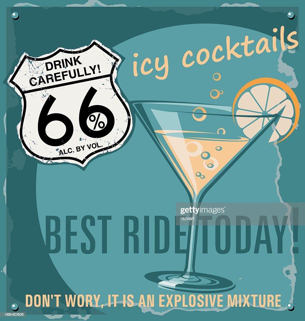Beverage, cocktail poster. Bar poster vector.