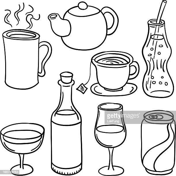 ilustrações, clipart, desenhos animados e ícones de coleção de bebidas em preto e branco - drink can