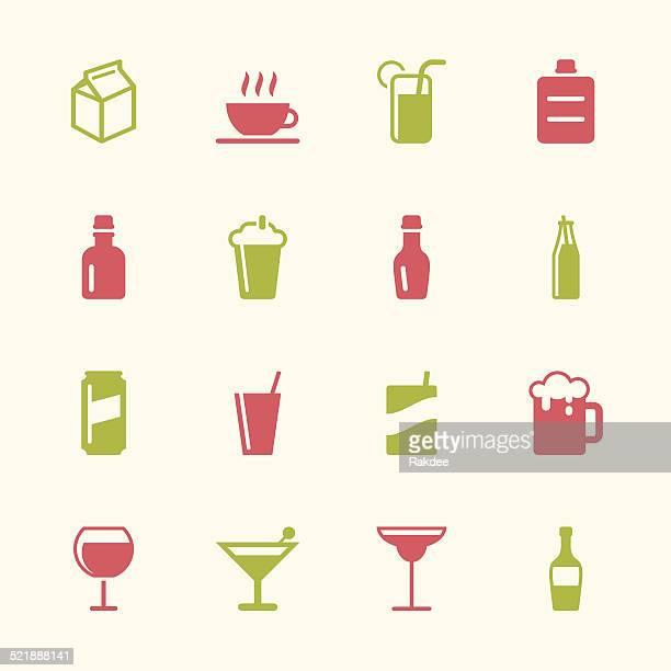 ilustrações, clipart, desenhos animados e ícones de conjunto de ícones de bebidas 3 séries de cores - drink can