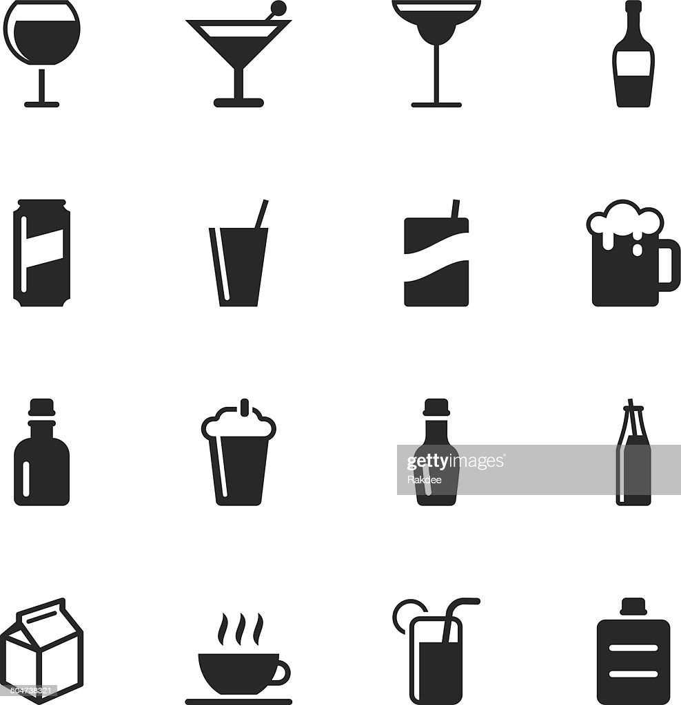 Beverage Silhouette Icons | Set 3 : stock illustration