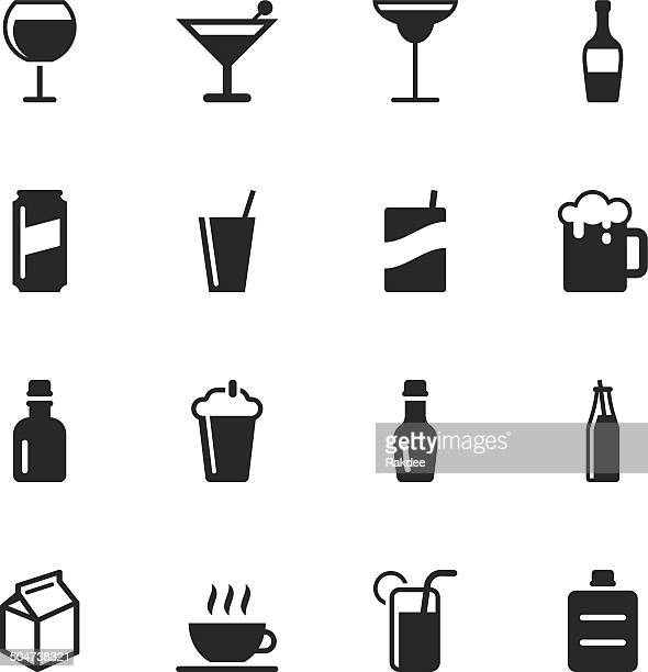 beverage silhouette icons | set 3 - drink can stock illustrations, clip art, cartoons, & icons