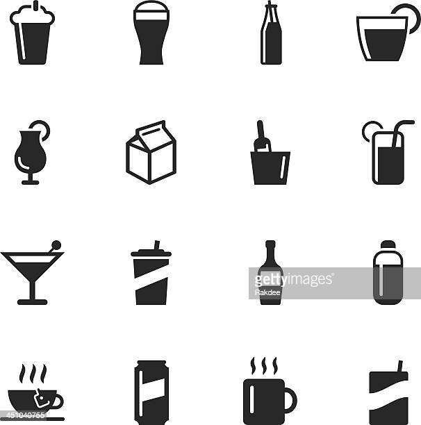 beverage silhouette icons - juice drink stock illustrations, clip art, cartoons, & icons