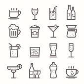 beverage symbol line icon set