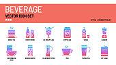 Beverage vector icon set
