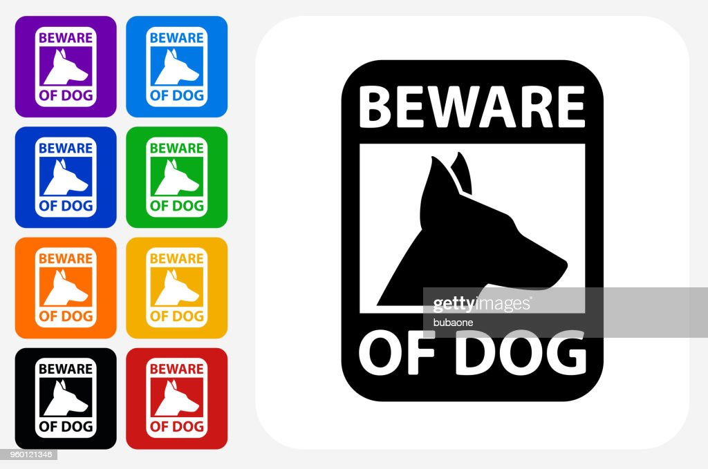 Vorsicht bei Hund Zeichen Symbol Square Buttonset : Stock-Illustration