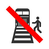 Beware of trains sign. Do not cross the railway line. Vector
