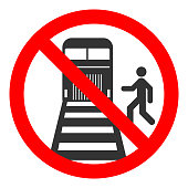 Beware of trains sign. Do not cross the railway lines. Vector
