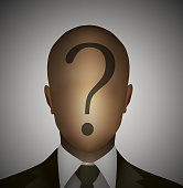 bewildered employee idea, unknown information for worker, faceless man with question on the head,