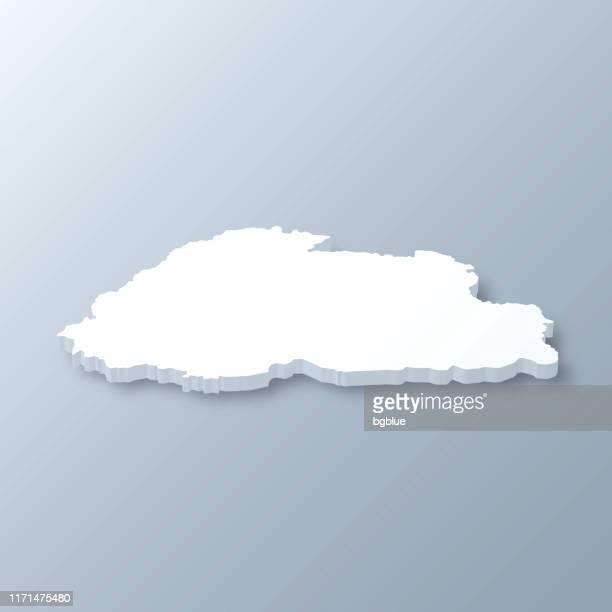 bhutan 3d map on gray background - bhutan stock illustrations