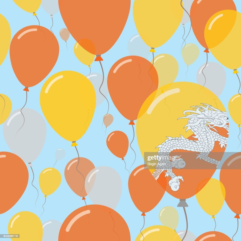 Bhutan National Day Flat Seamless Pattern. Flying Celebration Balloons in Colors of Bhutanese Flag. Happy Independence Day Background with Flags and Balloons.