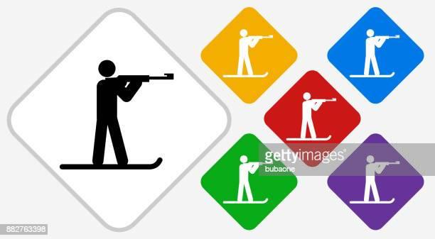 biathlon color diamond vector icon - shooting a weapon stock illustrations, clip art, cartoons, & icons