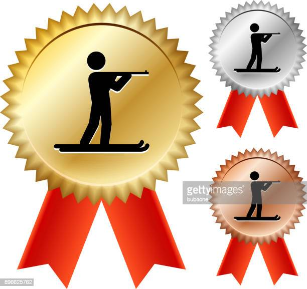 Biathlon  Gold Medal Prize Ribbons