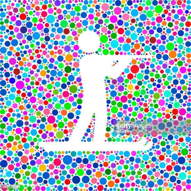 stockillustraties, clipart, cartoons en iconen met biathlon icon on color circle background pattern - military
