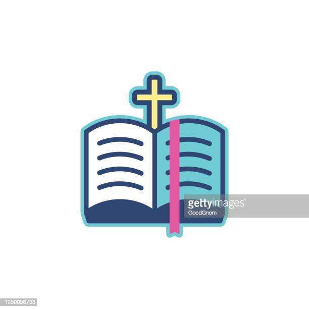 bible and cross icon - religious text stock illustrations