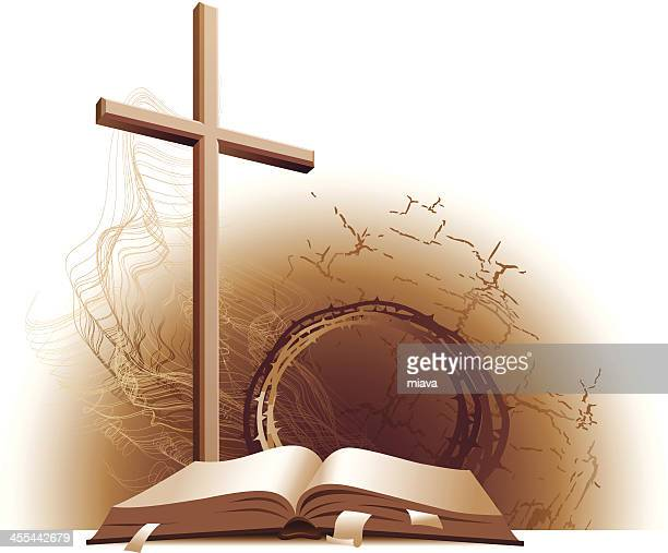 bible and cross. - religious equipment stock illustrations