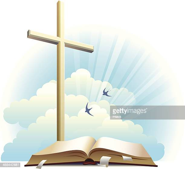 bible and cross. - religious cross stock illustrations